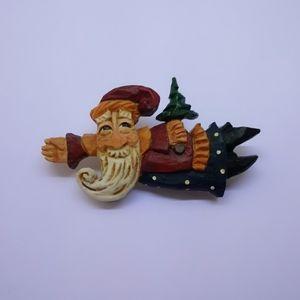 Carved Wooden Santa Christmas Brooch Pin